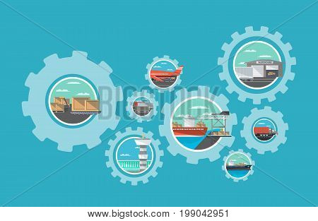 International shipping and global moving service. Commercial air, road, marine and railway transportation banner. World freight shipping and cargo delivery, postal logistics vector illustration