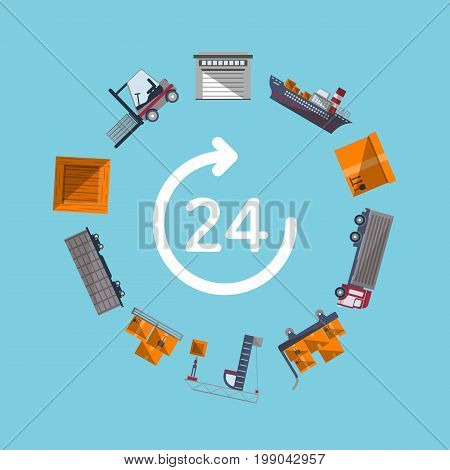Worldwide shipping and fast delivery service. Commercial air, road, marine and railway transportation banner. World freight shipping and cargo delivery, postal logistics vector illustration