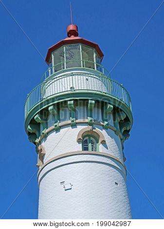 The tower of the Seul Choix Pointe Lighthouse, established in 1895 on the southern shore of the upper peninsula of Michigan.