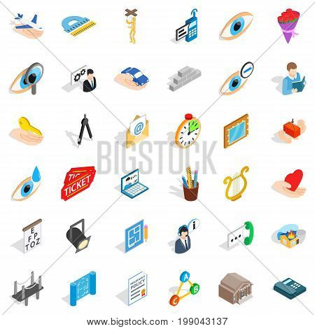 Work time icons set. Isometric style of 36 work time vector icons for web isolated on white background