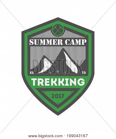 Summer camp trekking vintage isolated badge. Mountain explorer sign, touristic camping label, nature expedition, wildlife travel vector illustration.