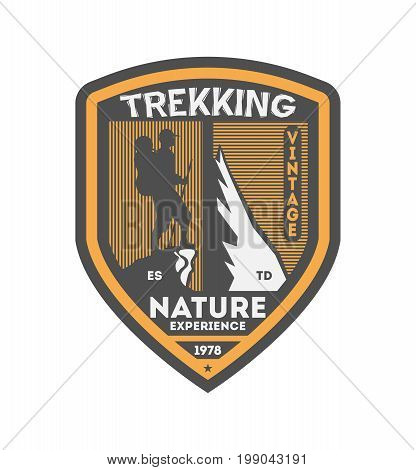 Nature trekking vintage isolated badge. Summer camp symbol, mountain explorer, touristic camping label, wildlife expedition vector illustration.