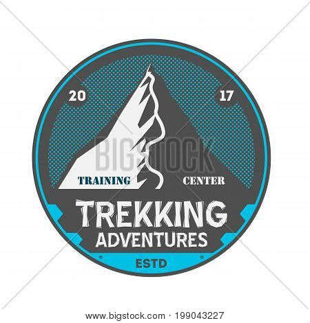 Trekking adventures vintage isolated badge. Summer camp symbol, mountain explorer, touristic camping label, wildlife expedition vector illustration.