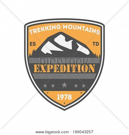 Trekking expedition vintage isolated badge. Summer camp symbol, mountain explorer, touristic camping label, wildlife travel vector illustration.