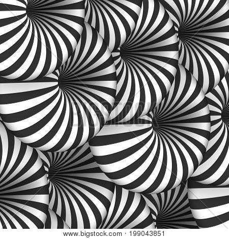 Illustration of Vector Tunnel Illusion. Spiral Optical Illusion Effect
