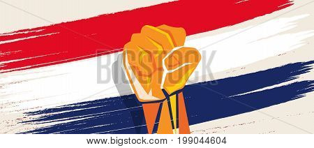 Netherlands Dutch flag independence painted brush stroke with hand fist fight patriotism vector