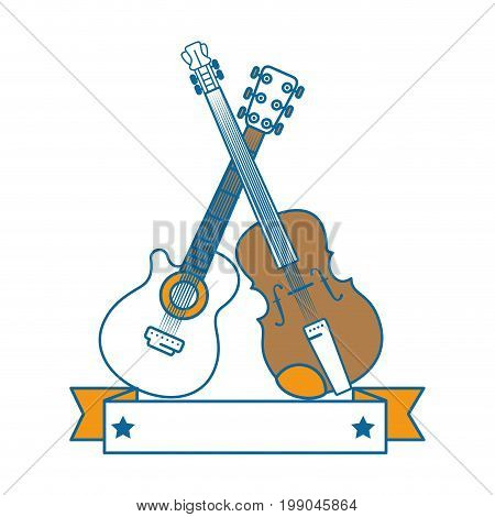 decorative ribbon with guitar and fiddle icon over white background vector illustration
