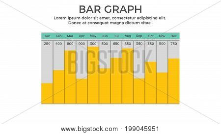 Bar Graph Infographic Element - Business Vector Illustration in Flat Design Style for Presentation, Booklet, Website, Presentation etc. Isolated on the White Background.