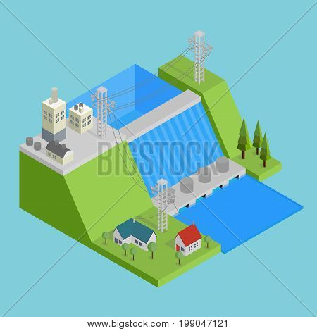 Isometric Hydroelectricity Conceptual Design  Isomatric Design with hight quality vector   Use for business, marketing, concept and much more. The set can be used for several purposes like: websites, print templates, presentation templates, and promotiona