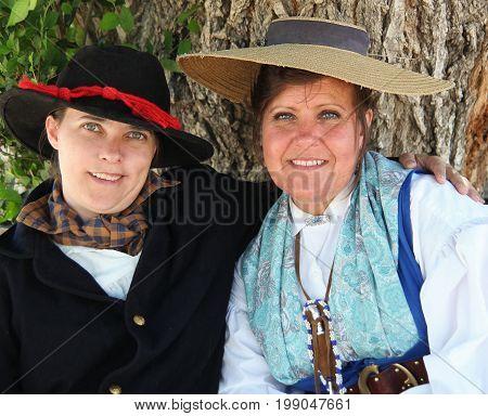 JULY 26, 2014. CASPER, WY. CIRCA: Pioneer day women reenactors posing on pioneer day in Casper, Wy.