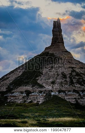 Chimney Rock National Historic Site at dusk with rock detail with rock detail in Nebraska vertical