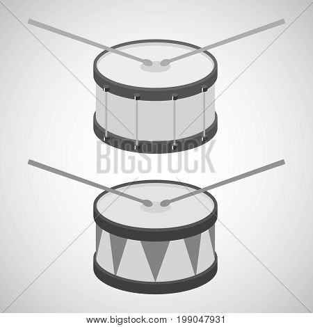 Drum drum icon drum sticks. Flat design vector illustration vector.