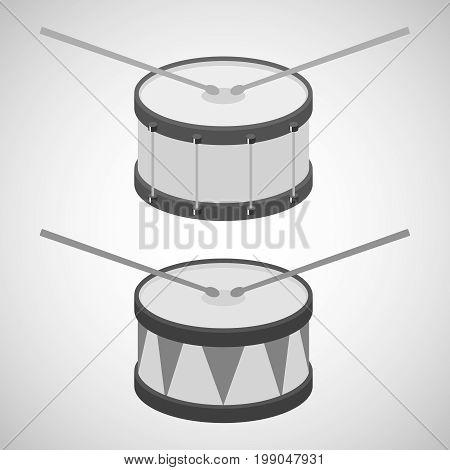 Drum drum icon drum sticks. Flat design vector illustration vector.