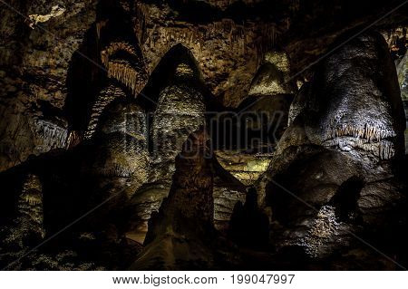 Group of stalagmites surround each other in Carlsbad Caverns National Park New Mexico