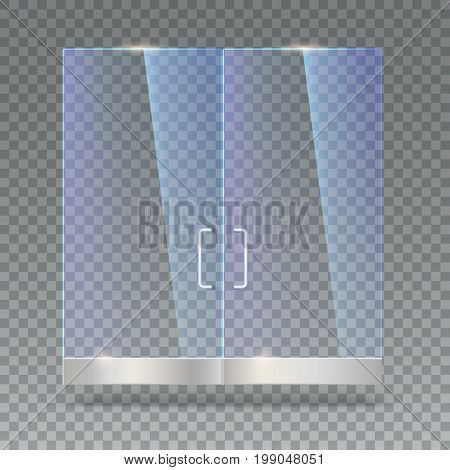 Glass door with reflection and shadows, isolated on transparent background. Vector 3D illustration. Transparent glass door, for shop, mall, transparent boutique door, office door with metal handles.