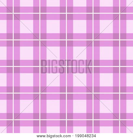 Pink background of plaid pattern. Vector image.