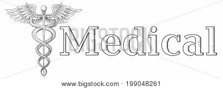 Cadeus Medical medecine pharmacy doctor acient symbol. Vector hand drawn black linear tho snakes with wings sword background. Logo hospital element. Medical inscription copy text space