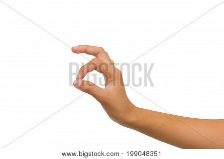 hand of twelve year old asian young girl showing ok sign isolated on white background. Clipping path.