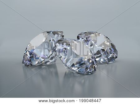 Three big beautiful diamonds on a dark background. 3d image. Dark background.