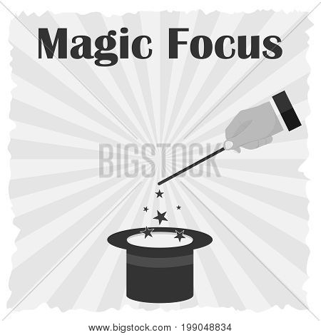 A hand with a magic wand shows focuses. Vintage posters focuses. Flat design vector illustration vector.