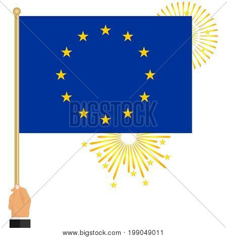 The hand holds the flag of the European Union. Flag of the European Union in hand. Flat design vector illustration vector.