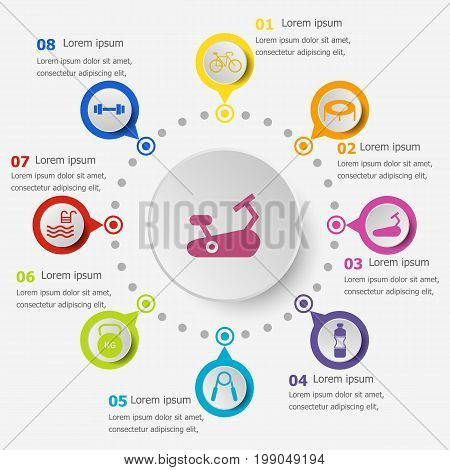 Infographic template with fitness icons, stock vector