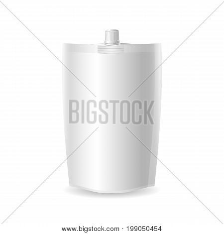 Doy-pack.Plastic Spouted Pouch Template Blank plastic spouted pouch template for puree beverage cosmetics. Vector