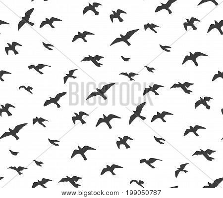 A flock of flying birds gray silhouette. Dove seagull sketch set abstract bird Vector beautiful Seamless pattern wrapping paper cute design fabric textile card texture isolated white background.