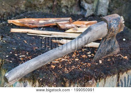 Old Ax Thrust Into The Stump