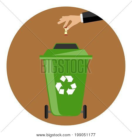 The hand throws the garbage into the container. The hand throws the rocker from the apple into a special garbage can. Flat design vector illustration vector.