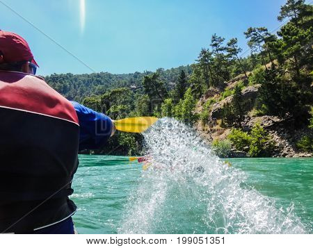 Paddle, River And The Side Of The Boat During Rafting