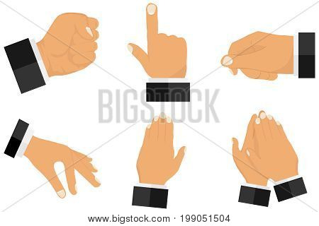 Various gestures with hands. Set of gestures from hands. Flat design vector illustration vector.