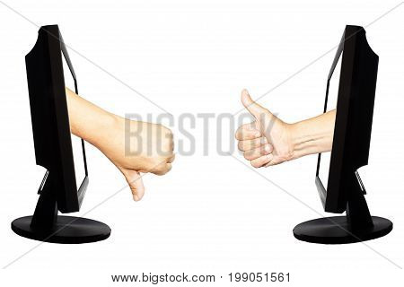 Virtual number one or not one. Two hands in displays with thumb up and down on the white background - internet business concept - teamwork success or not success.