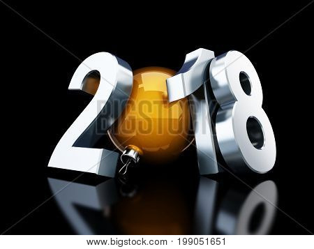 happy new year 2018 on black background 3d Illustrations