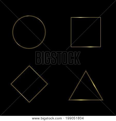 Golden geometric shapes. Circle square triangle rhombus