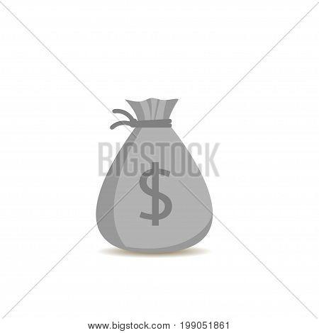 Grey Money bag with dollar sign. Treasure, jackpot symbol