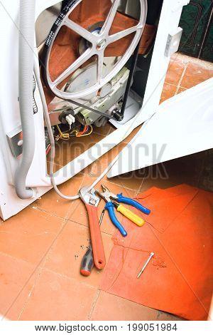 washing machine Set of plumbing tools Work