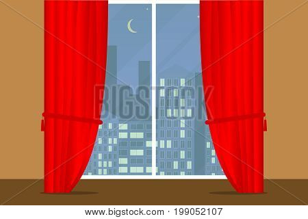 Window with curtains curtains close the window. View from the window. Flat design vector illustration vector.