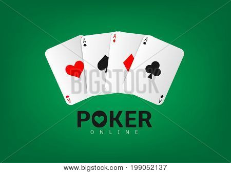 Poker playing cards isolated over green background. Set of four aces playing cards suits, Poker online illustration