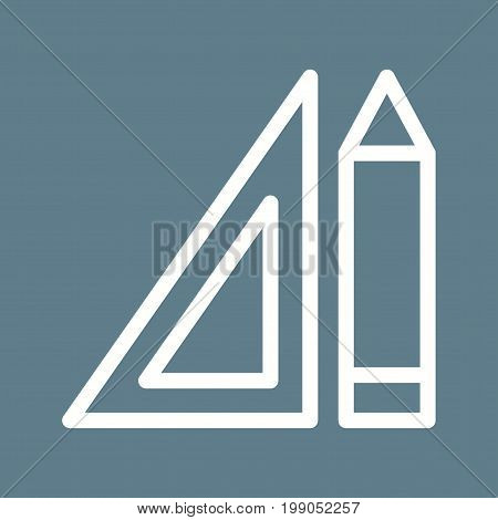 Pencil, square, protractor icon vector image. Can also be used for Math Symbols. Suitable for use on web apps, mobile apps and print media.