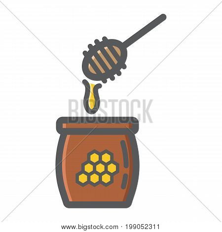 Honey ladle filled outline icon, food and drink, beehive sign vector graphics, a colorful line pattern on a white background, eps 10.