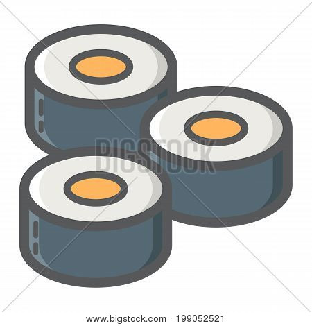 Sushi filled outline icon, food and drink, japanese rolls sign vector graphics, a colorful line pattern on a white background, eps 10.