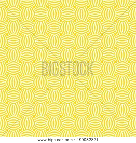 Seamless surface pattern design with ethnic ornament. Yellow axehead figures background