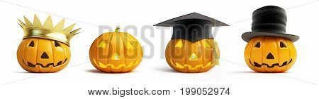 halloween pumpkin crown on a white background 3D illustration 3D rendering