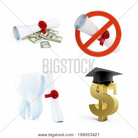 Education of a dentist on a white background 3D illustration 3D rendering