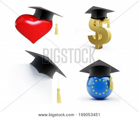 Education set Graduation hat on a white background 3D illustration 3D rendering
