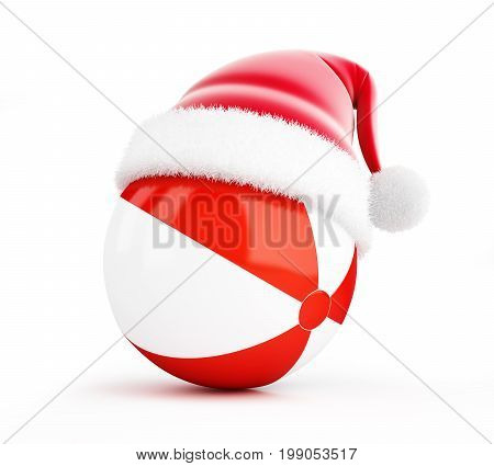 Santa hat Beach ball on a white background 3D illustration 3D rendering