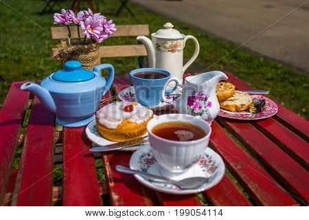 English afternoon tea for two with pastry