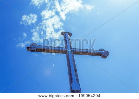 Crucifixion of Jesus Christ. The sky background. Religious concept.
