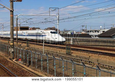 Nagoya JAPAN - Mar 11, 2017 : A Shinkansen bullet train in Japan. Motion blur of a Shinkansen modern high speed train in NagoyaJapan.